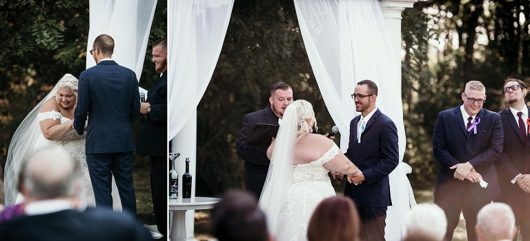 Bride and groom laughing during vows at intimate fall wedding