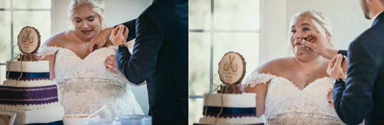 Groom dropping cake down bride's dress