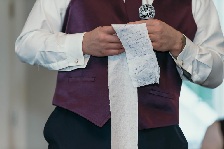 Best Man speech written on toilet paper