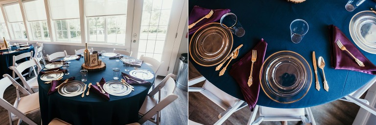 Diptych of table decor at intimate fall wedding at the Lodge at River Valley in Yorktown, Indiana