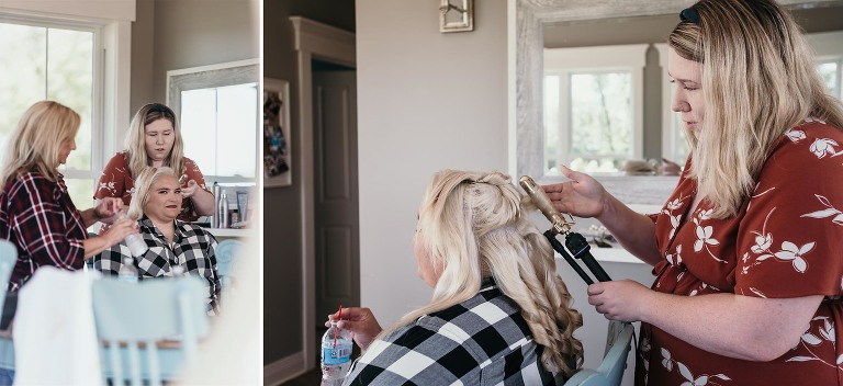 Diptych of bride getting hair curled