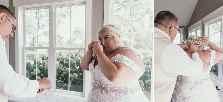 Diptych of stepddad putting necklace on bride during bridal prep at intimate fall wedding at the Lodge at River Valley in Yorktown, Indiana
