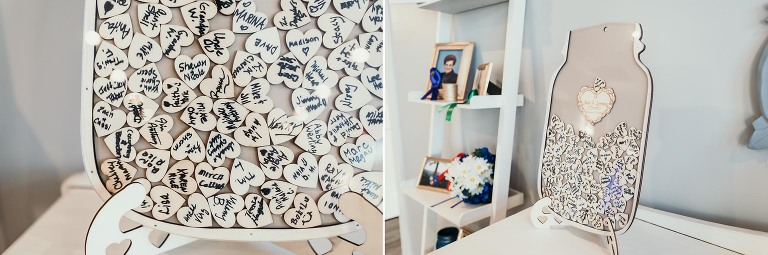Diptych of signed hearts for wedding guests